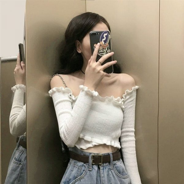 Long Sleeve Strapless Slim Top 1 - My Sweet Outfit - EGirl Outfits - Soft Girl Clothes Aesthetic - Grunge Korean Fashion Tumblr Hip Emo Rap