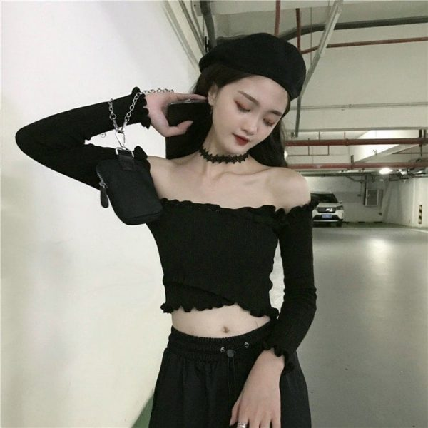 Long Sleeve Strapless Slim Top 2 - My Sweet Outfit - EGirl Outfits - Soft Girl Clothes Aesthetic - Grunge Korean Fashion Tumblr Hip Emo Rap