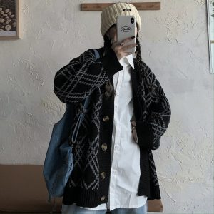 Loose College Cardigan In a Diamond (3) - My Sweet Outfit - EGirl Outfits - Soft Girl Clothes Aesthetic - Grunge Korean Fashion Tumblr Hip Emo Rap