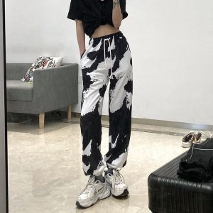 Loose Lace-up Tie Dye Jogger Pants (3) - My Sweet Outfit - EGirl Outfits - Soft Girl Clothes Aesthetic - Grunge Korean Fashion Tumblr Hip Emo Rap