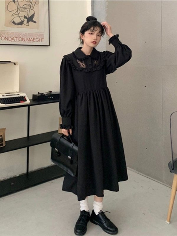 Loose Mid Length Lace Vintage Dress 1 - My Sweet Outfit - EGirl Outfits - Soft Girl Clothes Aesthetic - Grunge Korean Fashion Tumblr Hip Emo Rap