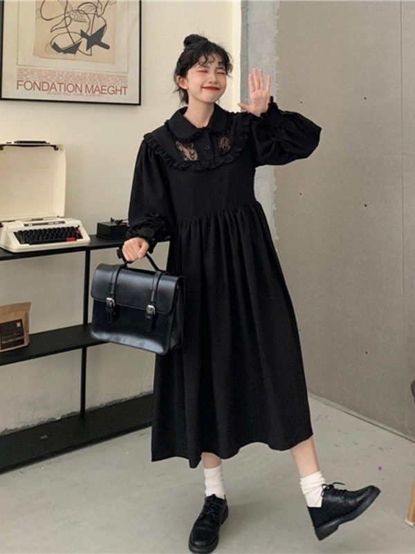 Loose Mid Length Lace Vintage Dress 2 - My Sweet Outfit - EGirl Outfits - Soft Girl Clothes Aesthetic - Grunge Korean Fashion Tumblr Hip Emo Rap