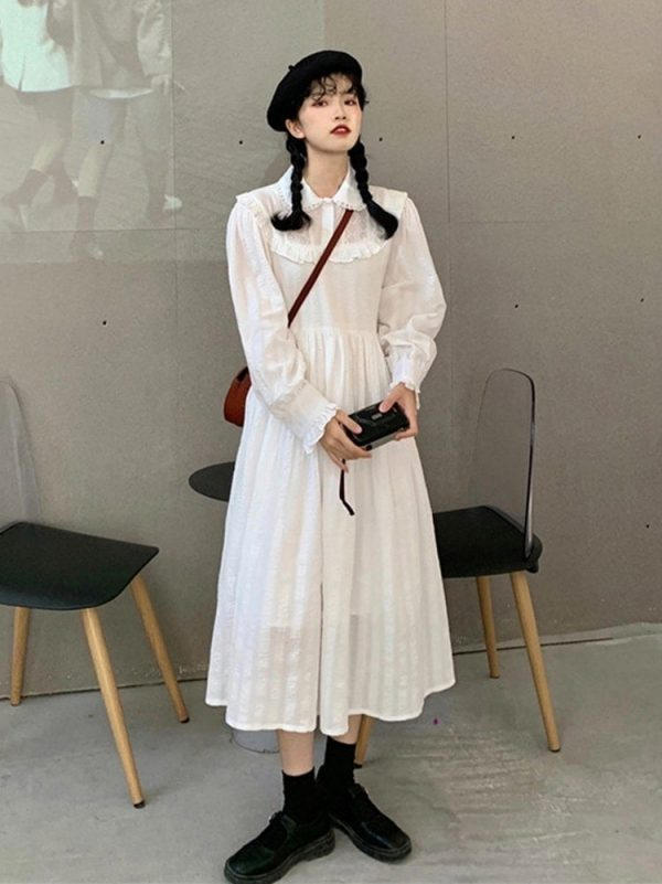 Loose Mid Length Lace Vintage Dress 3 - My Sweet Outfit - EGirl Outfits - Soft Girl Clothes Aesthetic - Grunge Korean Fashion Tumblr Hip Emo Rap