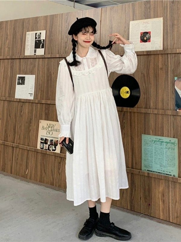 Loose Mid Length Lace Vintage Dress 4 - My Sweet Outfit - EGirl Outfits - Soft Girl Clothes Aesthetic - Grunge Korean Fashion Tumblr Hip Emo Rap