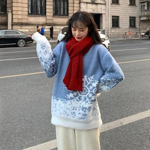 Mid-Length Collar Christmas Snowflake Sweater (1) - My Sweet Outfit - EGirl Outfits - Soft Girl Clothes Aesthetic - Grunge Korean Fashion Tumblr Hip Emo Rap