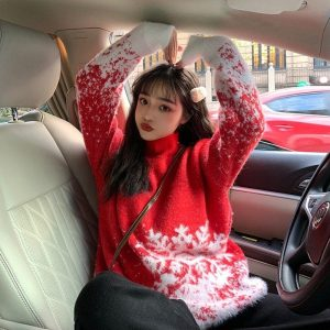 Mid-Length Collar Christmas Snowflake Sweater (2) - My Sweet Outfit - EGirl Outfits - Soft Girl Clothes Aesthetic - Grunge Korean Fashion Tumblr Hip Emo Rap