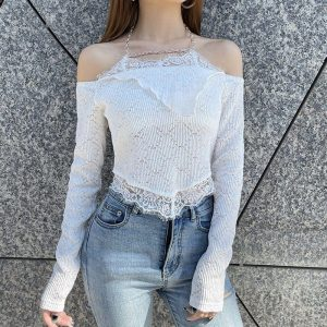 Open Shoulders And Chain Delicate Blouse (1) - My Sweet Outfit - EGirl Outfits - Soft Girl Clothes Aesthetic - Grunge Korean Fashion Tumblr Hip Emo Rap