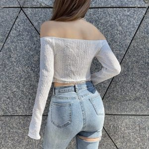 Open Shoulders And Chain Delicate Blouse (4) - My Sweet Outfit - EGirl Outfits - Soft Girl Clothes Aesthetic - Grunge Korean Fashion Tumblr Hip Emo Rap
