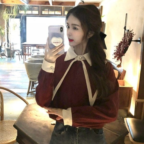 Oversized Double Collar Corduroy Shirt 2 - My Sweet Outfit - EGirl Outfits - Soft Girl Clothes Aesthetic - Grunge Korean Fashion Tumblr Hip Emo Rap