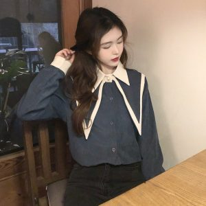 Oversized Double Collar Corduroy Shirt (3) - My Sweet Outfit - EGirl Outfits - Soft Girl Clothes Aesthetic - Grunge Korean Fashion Tumblr Hip Emo Rap