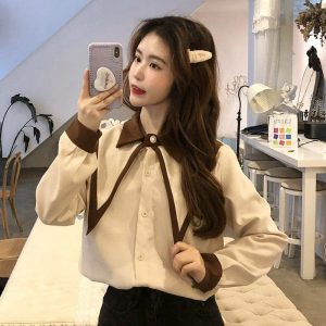 Oversized Double Collar Corduroy Shirt (4) - My Sweet Outfit - EGirl Outfits - Soft Girl Clothes Aesthetic - Grunge Korean Fashion Tumblr Hip Emo Rap