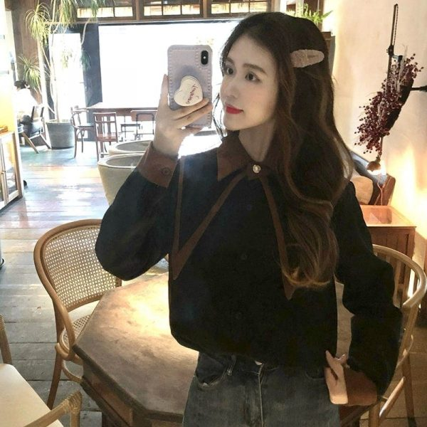 Oversized Double Collar Corduroy Shirt 5 - My Sweet Outfit - EGirl Outfits - Soft Girl Clothes Aesthetic - Grunge Korean Fashion Tumblr Hip Emo Rap
