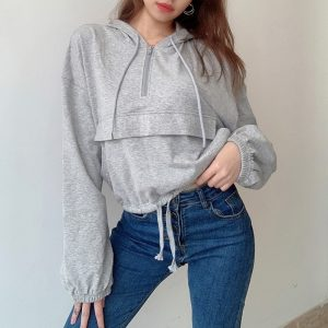 Oversized Zip-up Hooded Sweater (1) - My Sweet Outfit - EGirl Outfits - Soft Girl Clothes Aesthetic - Grunge Korean Fashion Tumblr Hip Emo Rap