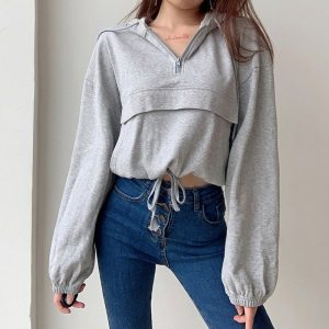 Oversized Zip-up Hooded Sweater (4) - My Sweet Outfit - EGirl Outfits - Soft Girl Clothes Aesthetic - Grunge Korean Fashion Tumblr Hip Emo Rap