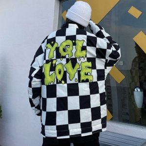 Plaid Jacket With Back Slogan (2) - My Sweet Outfit - EGirl Outfits - Soft Girl Clothes Aesthetic - Grunge Korean Fashion Tumblr Hip Emo Rap