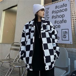 Plaid Jacket With Back Slogan (4) - My Sweet Outfit - EGirl Outfits - Soft Girl Clothes Aesthetic - Grunge Korean Fashion Tumblr Hip Emo Rap