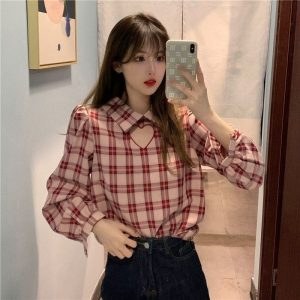 Plaid Long Sleeve Polo Shirt With Heart Cut (2) - My Sweet Outfit - EGirl Outfits - Soft Girl Clothes Aesthetic - Grunge Korean Fashion Tumblr Hip Emo Rap