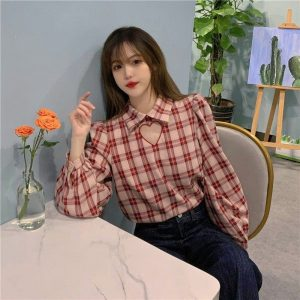 Plaid Long Sleeve Polo Shirt With Heart Cut (3) - My Sweet Outfit - EGirl Outfits - Soft Girl Clothes Aesthetic - Grunge Korean Fashion Tumblr Hip Emo Rap