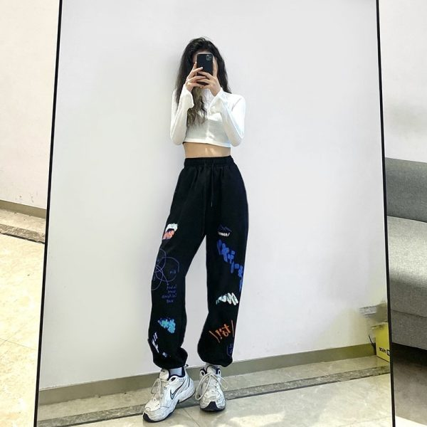 Print High Waist Wide Joggers 2 - My Sweet Outfit - EGirl Outfits - Soft Girl Clothes Aesthetic - Grunge Korean Fashion Tumblr Hip Emo Rap
