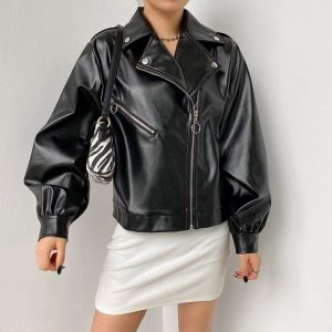 Puff Sleeve and Large Collar Shimmering Jacket (3) - My Sweet Outfit - EGirl Outfits - Soft Girl Clothes Aesthetic - Grunge Korean Fashion Tumblr Hip Emo Rap