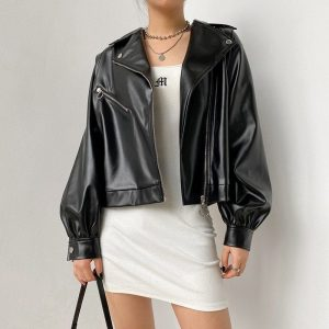 Puff Sleeve and Large Collar Shimmering Jacket (4) - My Sweet Outfit - EGirl Outfits - Soft Girl Clothes Aesthetic - Grunge Korean Fashion Tumblr Hip Emo Rap