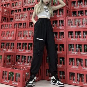 Purple Cargo Tie Ankle Pants (1) - My Sweet Outfit - EGirl Outfits - Soft Girl Clothes Aesthetic - Grunge Korean Fashion Tumblr Hip Emo Rap