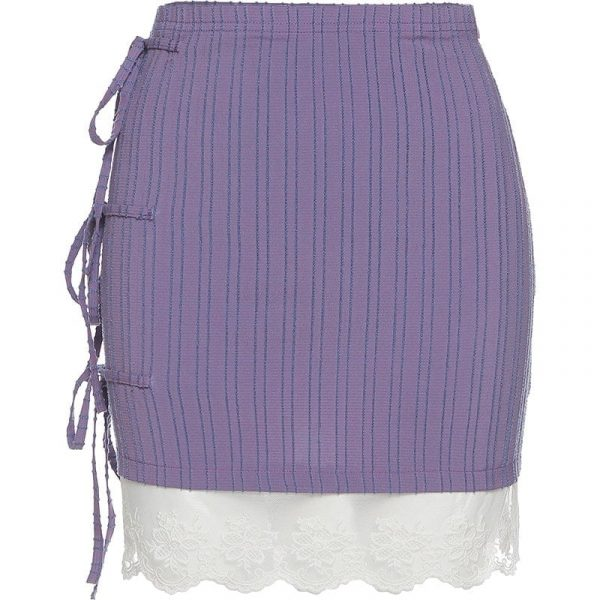 Side-Tie Striped Skirt With Lace (5) - My Sweet Outfit - EGirl Outfits - Soft Girl Clothes Aesthetic - Grunge Korean Fashion Tumblr Hip Emo Rap