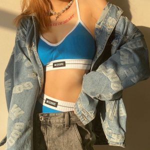 Sports Top And High Waist Shorts (5) - My Sweet Outfit - EGirl Outfits - Soft Girl Clothes Aesthetic - Grunge Korean Fashion Tumblr Hip Emo Rap