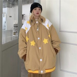 Stars Pattern Elastic Bands Jacket (1) - My Sweet Outfit - EGirl Outfits - Soft Girl Clothes Aesthetic - Grunge Korean Fashion Tumblr Hip Emo Rap