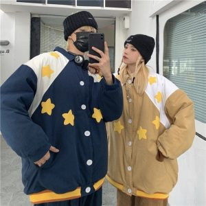 Stars Pattern Elastic Bands Jacket (2) - My Sweet Outfit - EGirl Outfits - Soft Girl Clothes Aesthetic - Grunge Korean Fashion Tumblr Hip Emo Rap