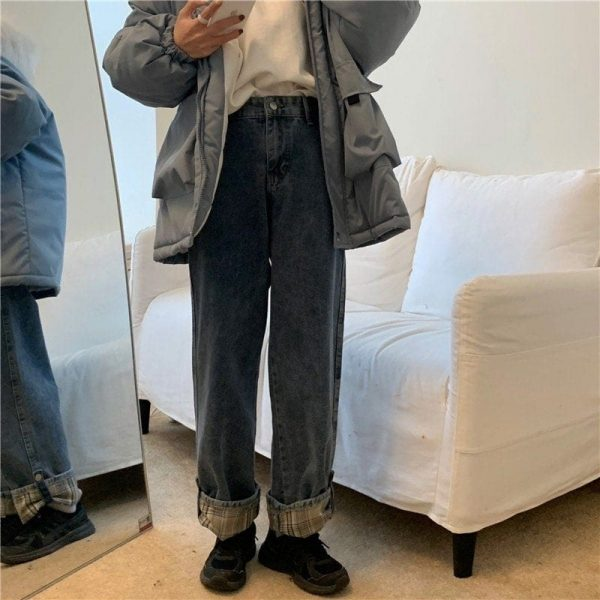 Stitching Lattice Blue Loose Jeans (2) - My Sweet Outfit - EGirl Outfits - Soft Girl Clothes Aesthetic - Grunge Korean Fashion Tumblr Hip Emo Rap