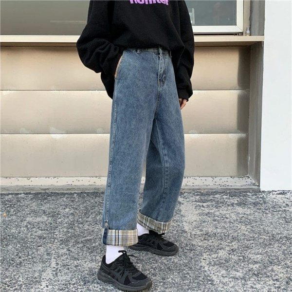 Stitching Lattice Blue Loose Jeans (3) - My Sweet Outfit - EGirl Outfits - Soft Girl Clothes Aesthetic - Grunge Korean Fashion Tumblr Hip Emo Rap