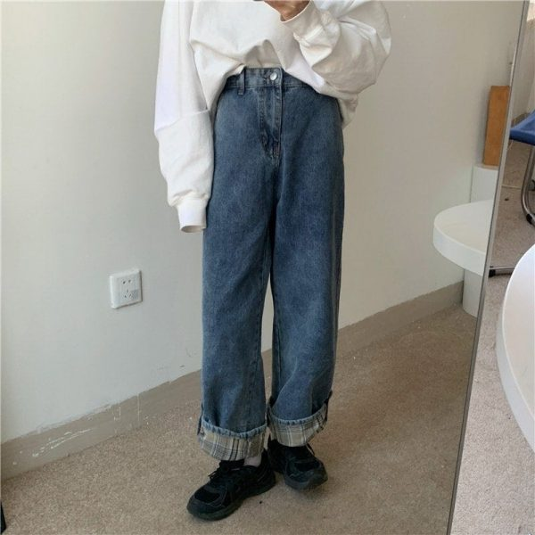Stitching Lattice Blue Loose Jeans (4) - My Sweet Outfit - EGirl Outfits - Soft Girl Clothes Aesthetic - Grunge Korean Fashion Tumblr Hip Emo Rap