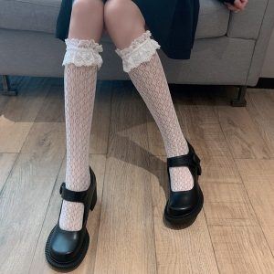 Stretch Transparent Lace Stockings 1 - My Sweet Outfit - EGirl Outfits - Soft Girl Clothes Aesthetic - Grunge Korean Fashion Tumblr Hip Emo Rap