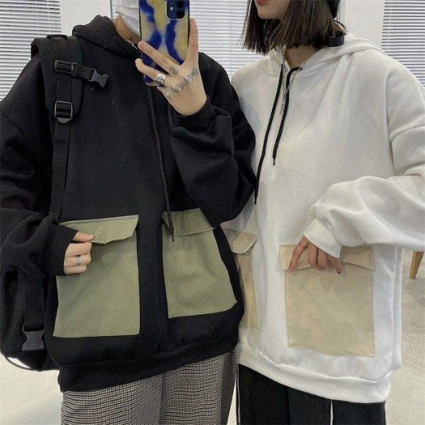 Thick Multi Colored Pocket Hoodie (1) - My Sweet Outfit - EGirl Outfits - Soft Girl Clothes Aesthetic - Grunge Korean Fashion Tumblr Hip Emo Rap