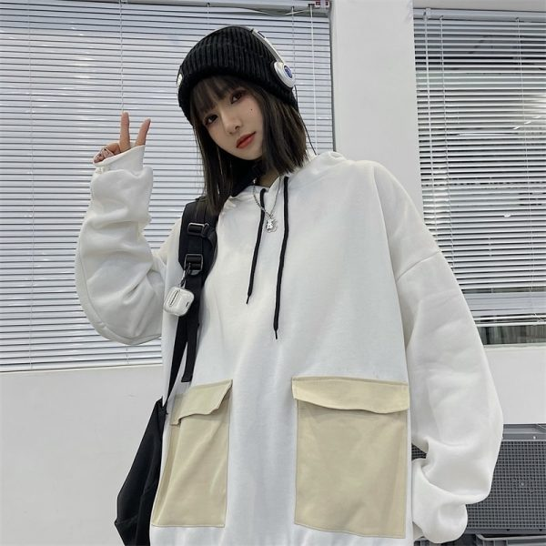 Thick Multi Colored Pocket Hoodie (3) - My Sweet Outfit - EGirl Outfits - Soft Girl Clothes Aesthetic - Grunge Korean Fashion Tumblr Hip Emo Rap