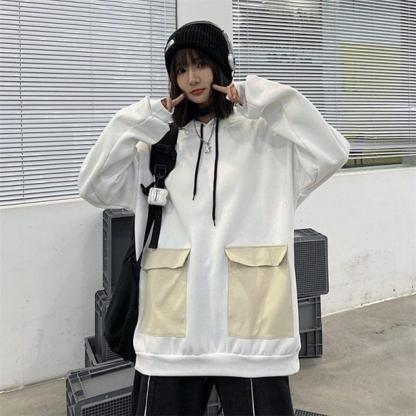 Thick Multi Colored Pocket Hoodie (4) - My Sweet Outfit - EGirl Outfits - Soft Girl Clothes Aesthetic - Grunge Korean Fashion Tumblr Hip Emo Rap
