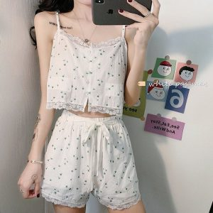 Thin Set Of Floral Home Pajamas (2) - My Sweet Outfit - EGirl Outfits - Soft Girl Clothes Aesthetic - Grunge Korean Fashion Tumblr Hip Emo Rap