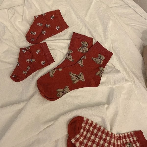 Three Pairs Of Cute Red Medium Height Socks 1 - My Sweet Outfit - EGirl Outfits - Soft Girl Clothes Aesthetic - Grunge Korean Fashion Tumblr Hip Emo Rap