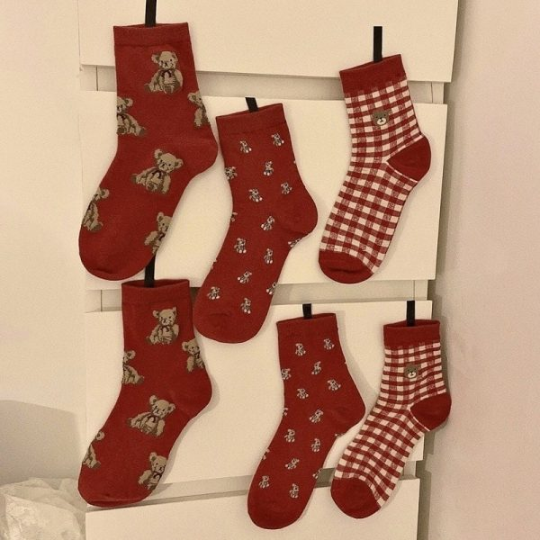 Three Pairs Of Cute Red Medium Height Socks 2 - My Sweet Outfit - EGirl Outfits - Soft Girl Clothes Aesthetic - Grunge Korean Fashion Tumblr Hip Emo Rap