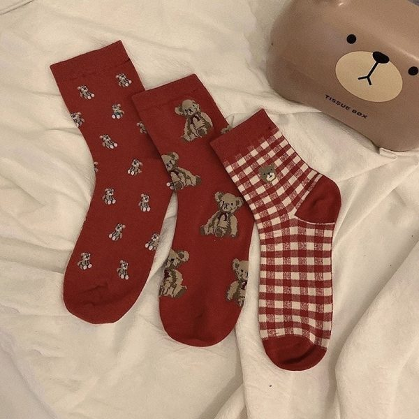 Three Pairs Of Cute Red Medium Height Socks 3 - My Sweet Outfit - EGirl Outfits - Soft Girl Clothes Aesthetic - Grunge Korean Fashion Tumblr Hip Emo Rap