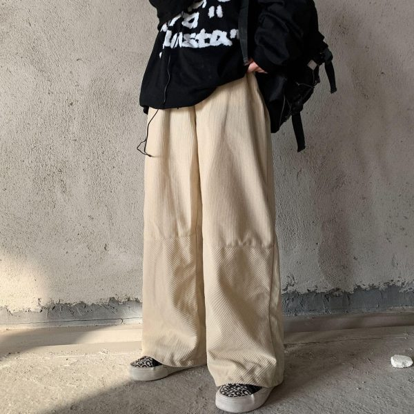 Velvet Straight Wide Leg Winter Trousers (3) - My Sweet Outfit - EGirl Outfits - Soft Girl Clothes Aesthetic - Grunge Korean Fashion Tumblr Hip Emo Rap