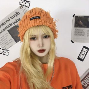 Warm Torn Lapel Knitted Beanie 2 - My Sweet Outfit - EGirl Outfits - Soft Girl Clothes Aesthetic - Grunge Korean Fashion Tumblr Hip Emo Rap
