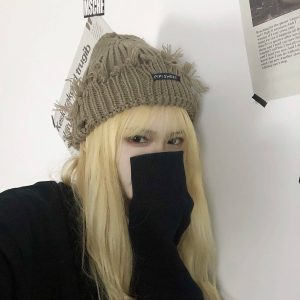 Warm Torn Lapel Knitted Beanie 3 - My Sweet Outfit - EGirl Outfits - Soft Girl Clothes Aesthetic - Grunge Korean Fashion Tumblr Hip Emo Rap