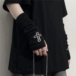 Wrist Gloves With Crucifixes (4) - My Sweet Outfit - EGirl Outfits - Soft Girl Clothes Aesthetic - Grunge Korean Fashion Tumblr Hip Emo Rap