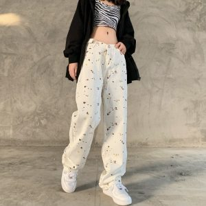 Вotted High-Rise Wide Leg Trousers - My Sweet Outfit - EGirl Outfits - Soft Girl Clothes Aesthetic - Grunge Korean Fashion Hip Emo Rap (2)