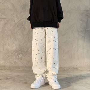 Вotted High-Rise Wide Leg Trousers - My Sweet Outfit - EGirl Outfits - Soft Girl Clothes Aesthetic - Grunge Korean Fashion Hip Emo Rap (5)