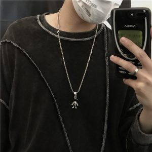 Astronaut Steel Necklace - My Sweet Outfit - EGirl Outfits - Soft Girl Clothes Aesthetic - Grunge Korean Fashion Hip Emo Rap (1)