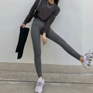 Basic Skinny High Rise Leggings (5) - My Sweet Outfit - EGirl Outfits - Soft Girl Clothes Aesthetic - Grunge Korean Fashion Hip Emo Rap