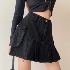 Black Pleated Denim Skirt (1) - My Sweet Outfit - EGirl Outfits - Soft Girl Clothes Aesthetic - Grunge Korean Fashion Hip Emo Rap